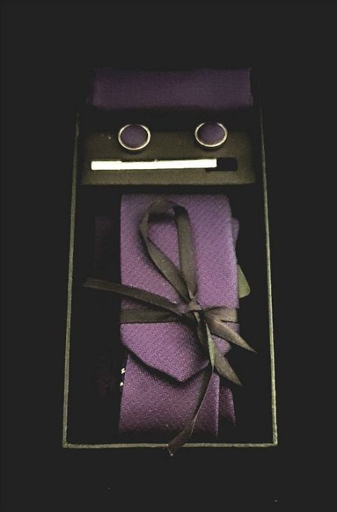 Purple Embossed Print Tie, Cufflink & Pocket Square Set